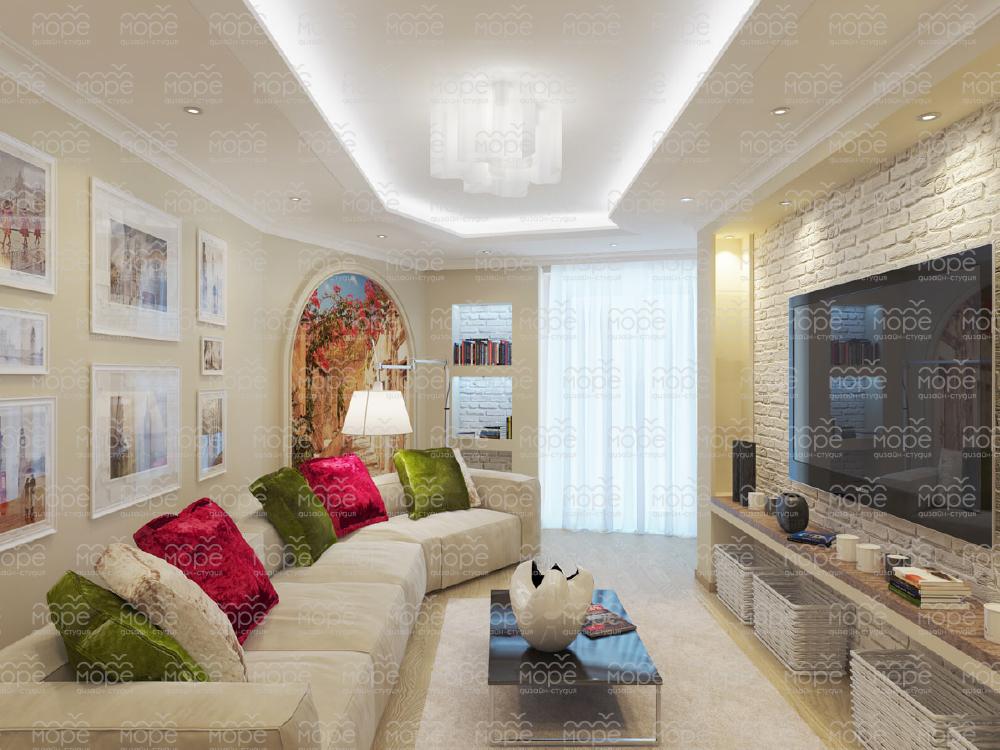 Фото дизайна гостиной в теплых тонах